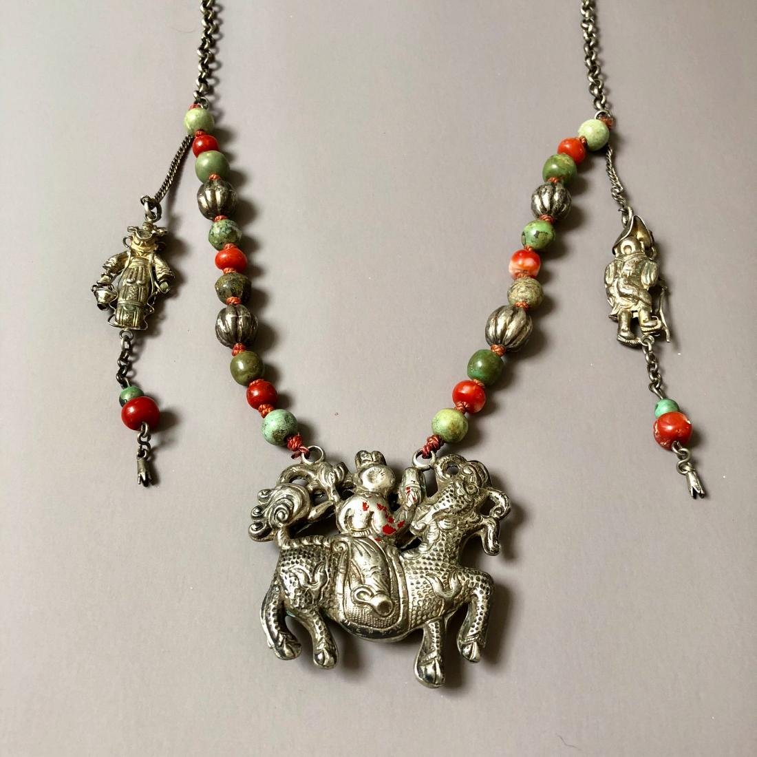 OLD CHINESE SILVER CORAL NECKLACE