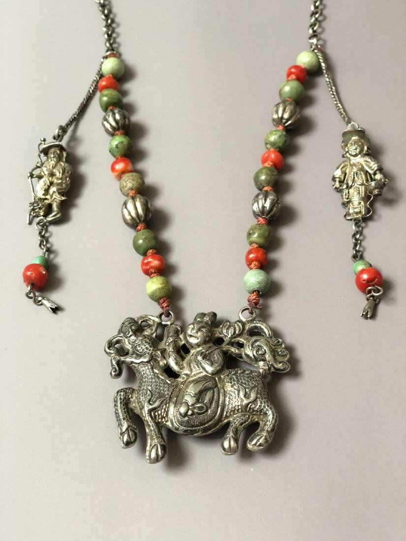 OLD CHINESE SILVER CORAL NECKLACE - 2
