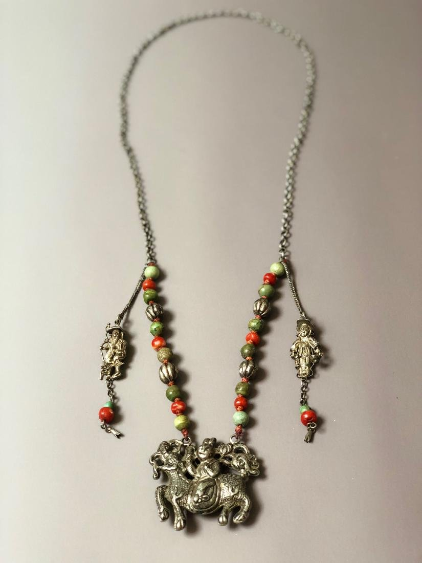 OLD CHINESE SILVER CORAL NECKLACE - 3