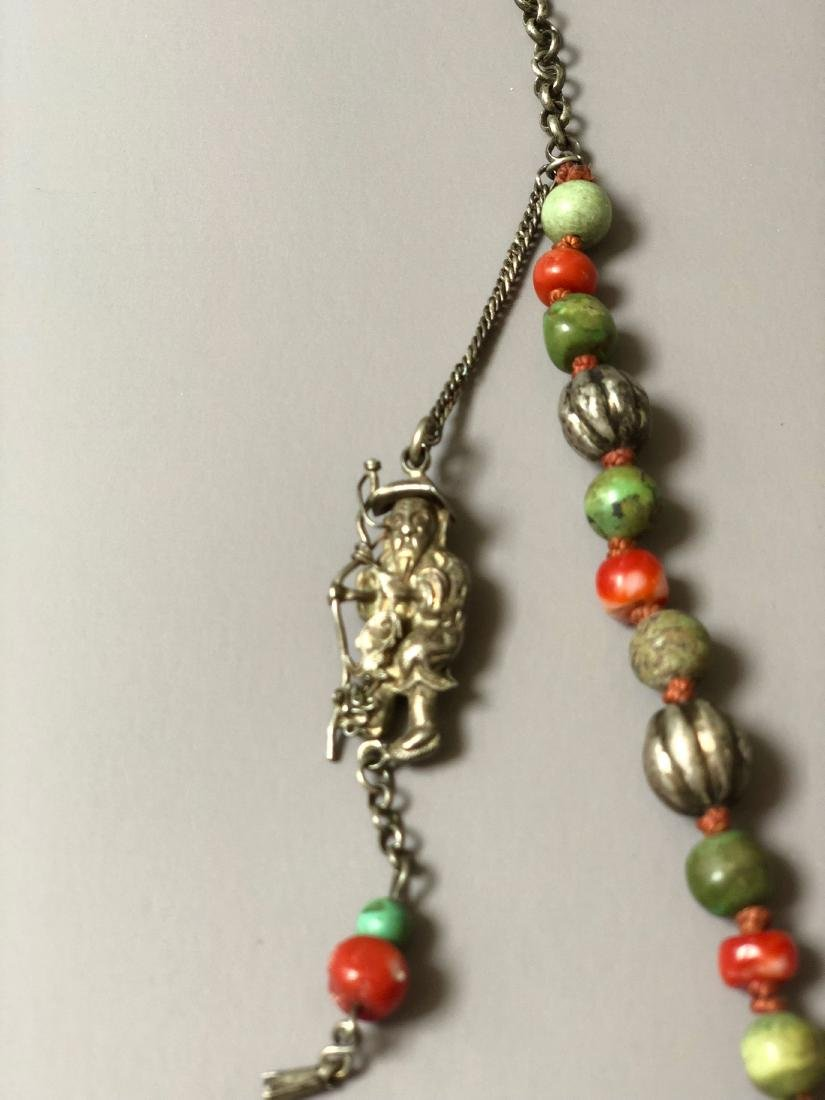 OLD CHINESE SILVER CORAL NECKLACE - 4