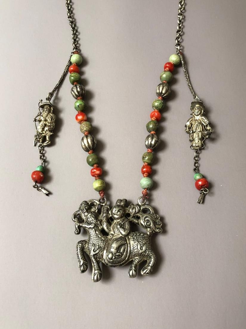 OLD CHINESE SILVER CORAL NECKLACE - 5