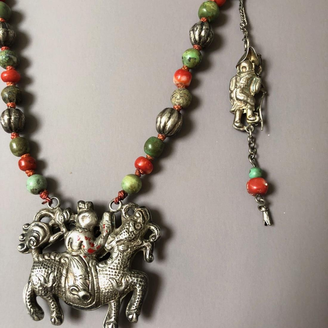 OLD CHINESE SILVER CORAL NECKLACE - 6