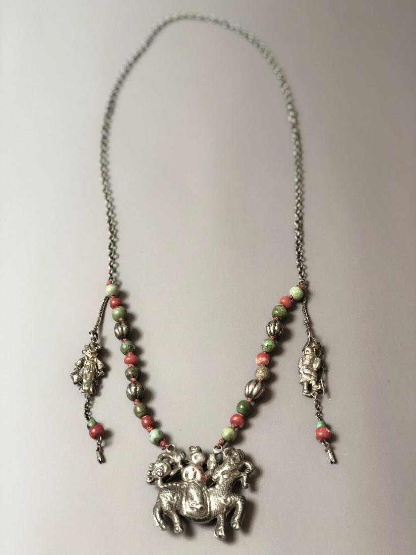 OLD CHINESE SILVER CORAL NECKLACE - 8