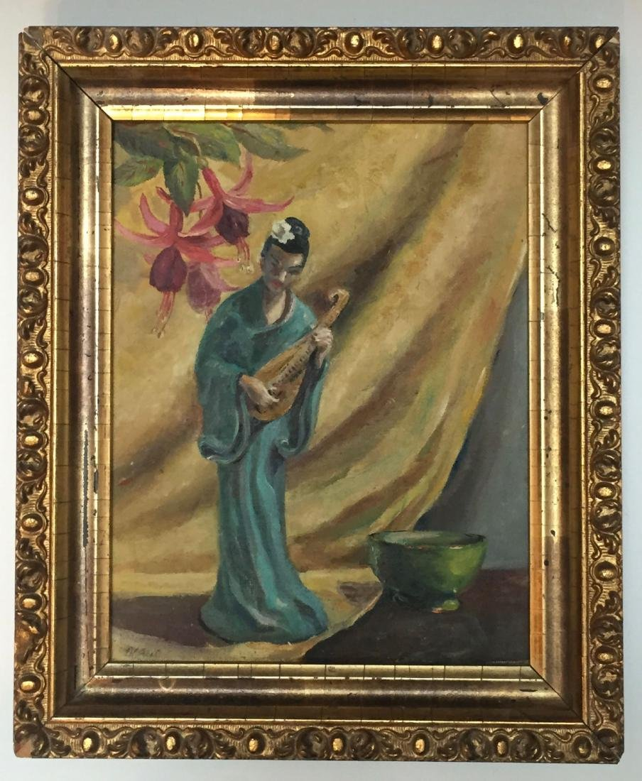 CHINESE WOMAN WITH INSTRUMENT, OIL ON CANVASBOARD,