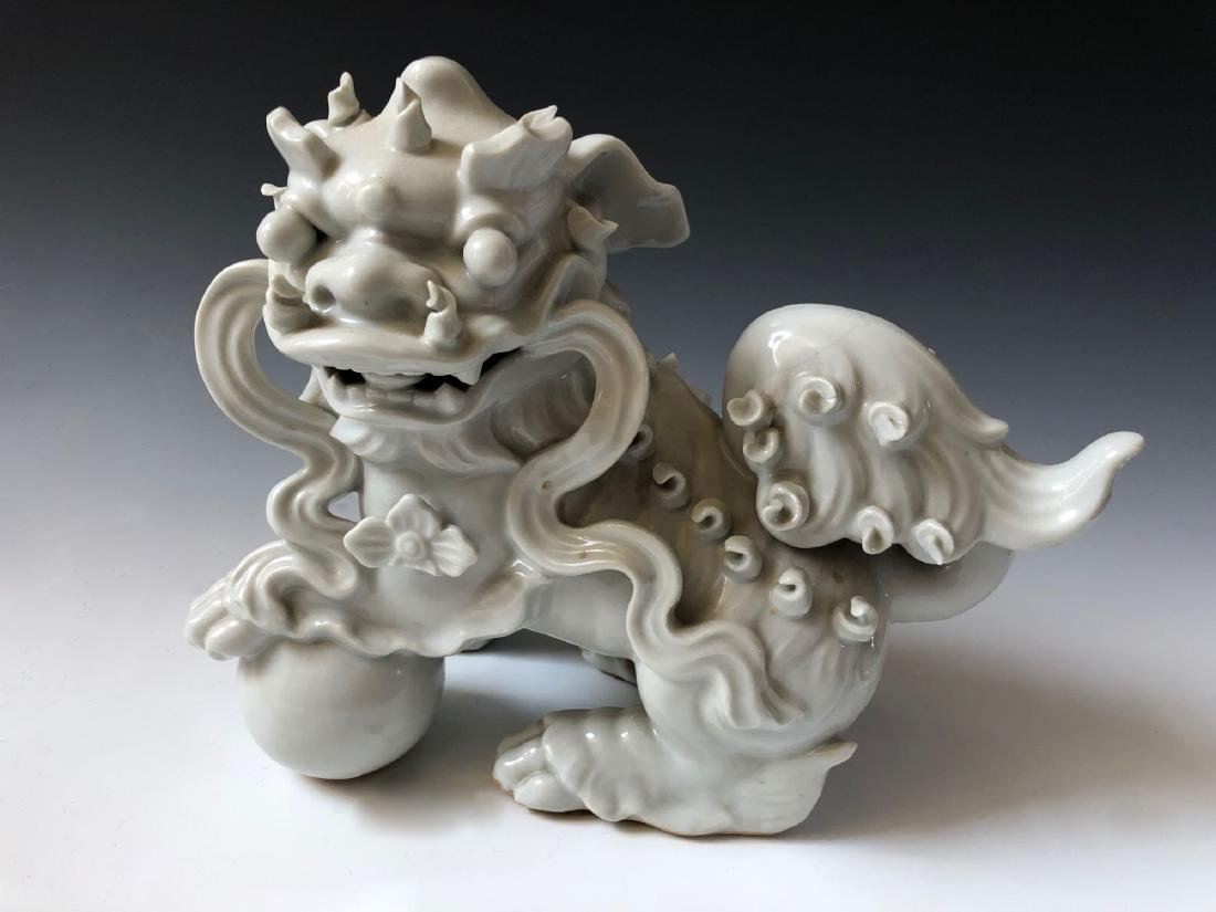 A PAIR OF CHINESE ANTIQUE WHITE GLAZED LIONS - 3