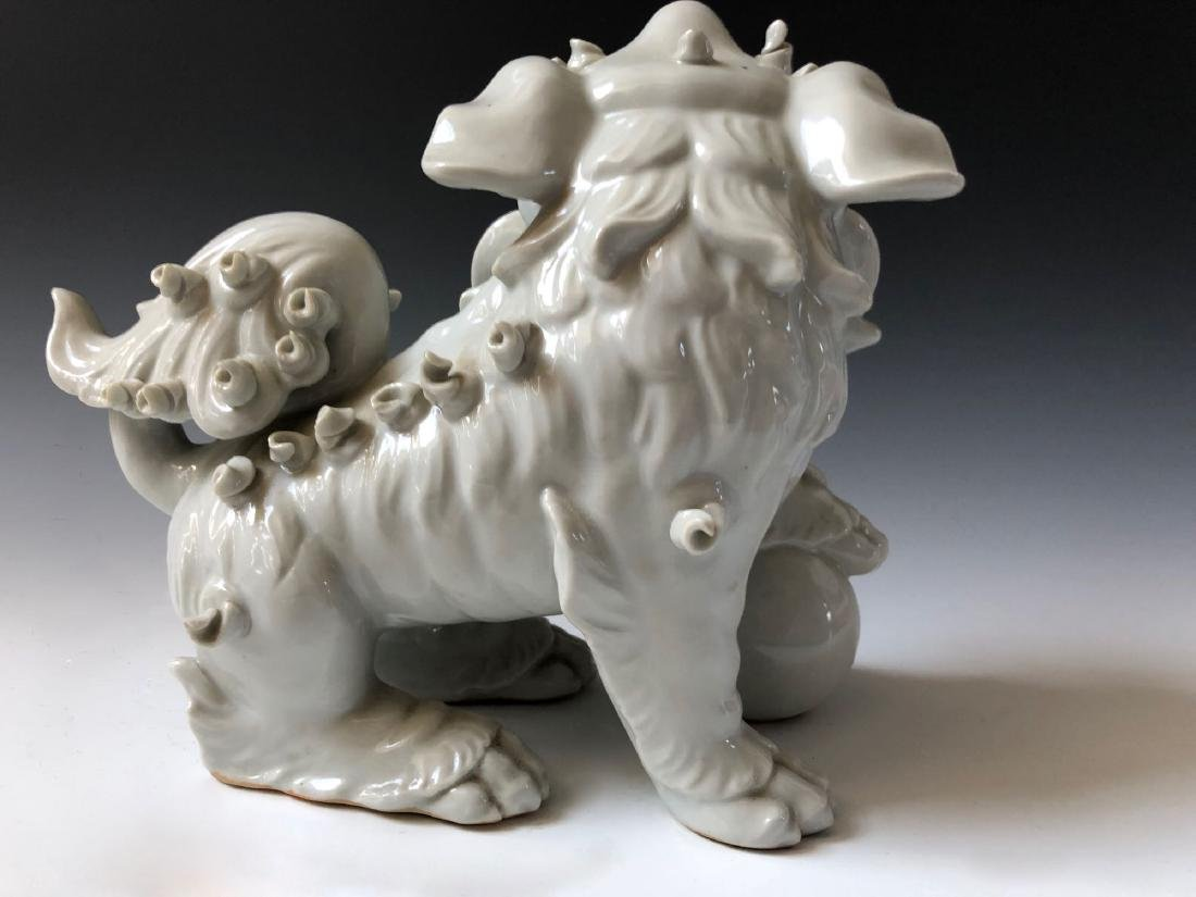 A PAIR OF CHINESE ANTIQUE WHITE GLAZED LIONS - 7