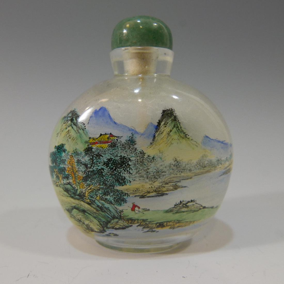 CHINESE ANTIQUE REVERSE PAINTED CRYSTAL SNUFF BOTTLE