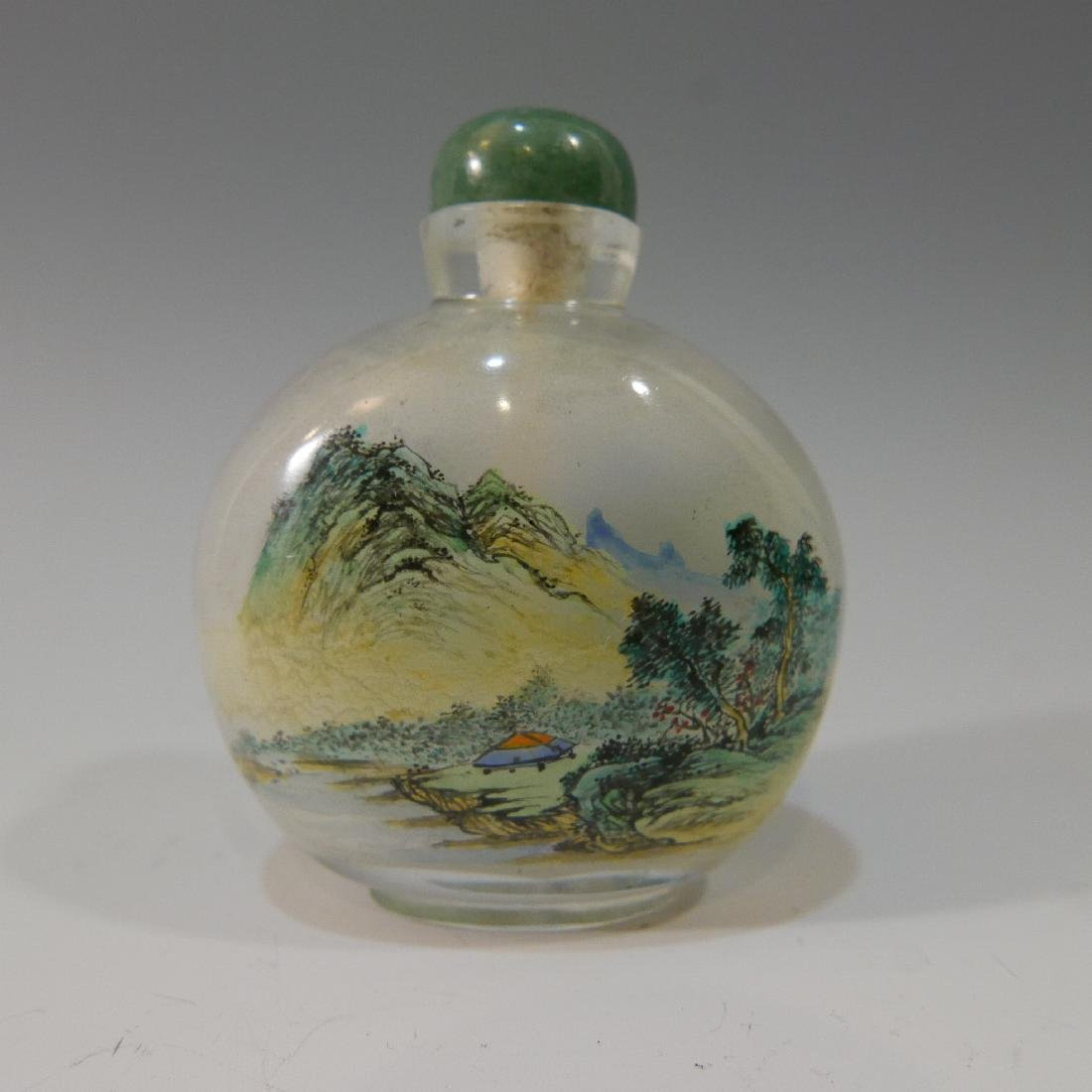 CHINESE ANTIQUE REVERSE PAINTED CRYSTAL SNUFF BOTTLE - 2