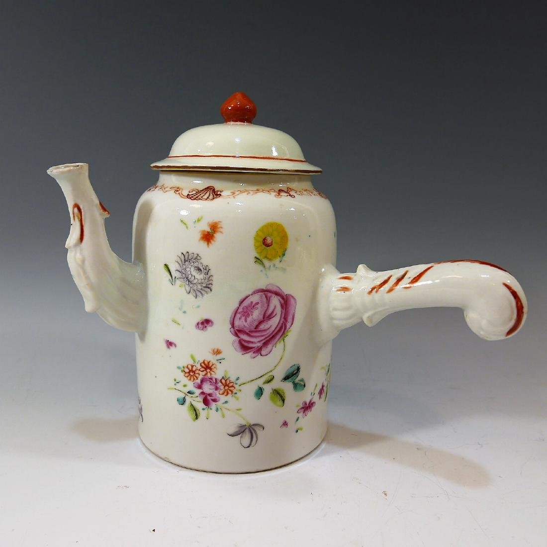 CHINESE ANTIQUE FAMILLE ROSE CHOCOLATE POT - 18TH
