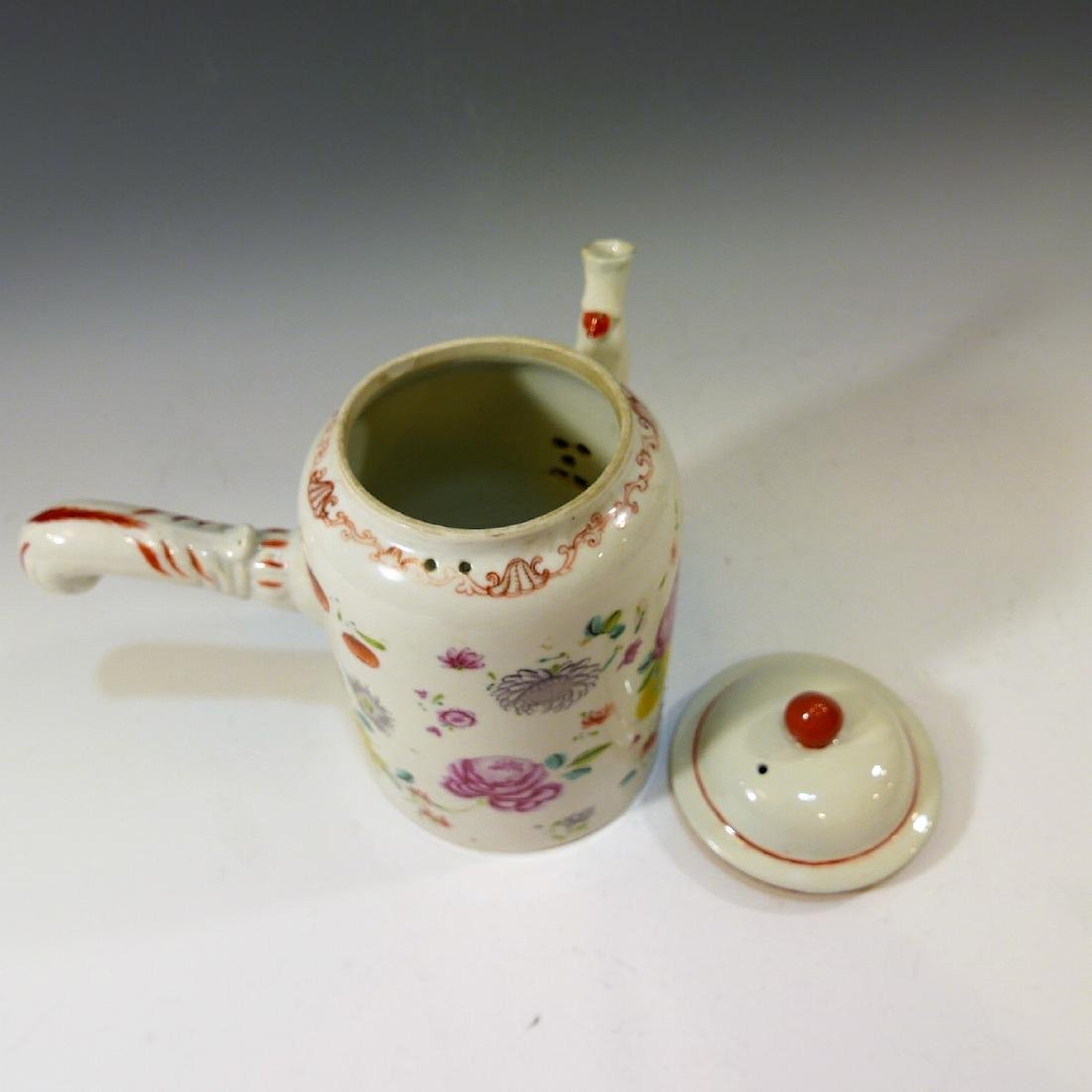 CHINESE ANTIQUE FAMILLE ROSE CHOCOLATE POT - 18TH - 3