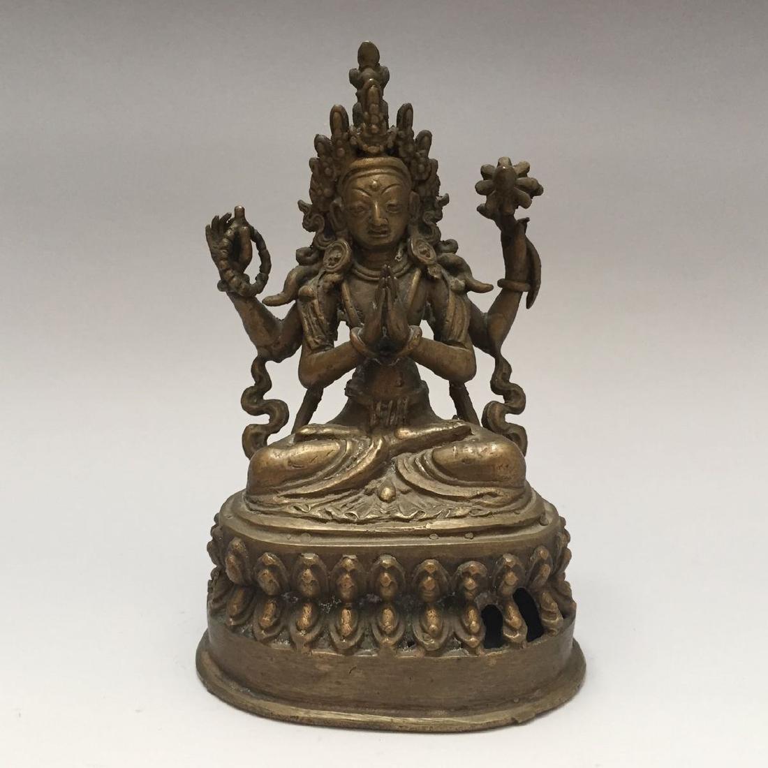 ANTIQUE TIBETAN BRONZE BUDDHA FIGURE