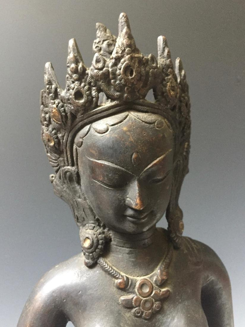 CHINESE ANTIQUE BRONZE OF GUANYIN - 3
