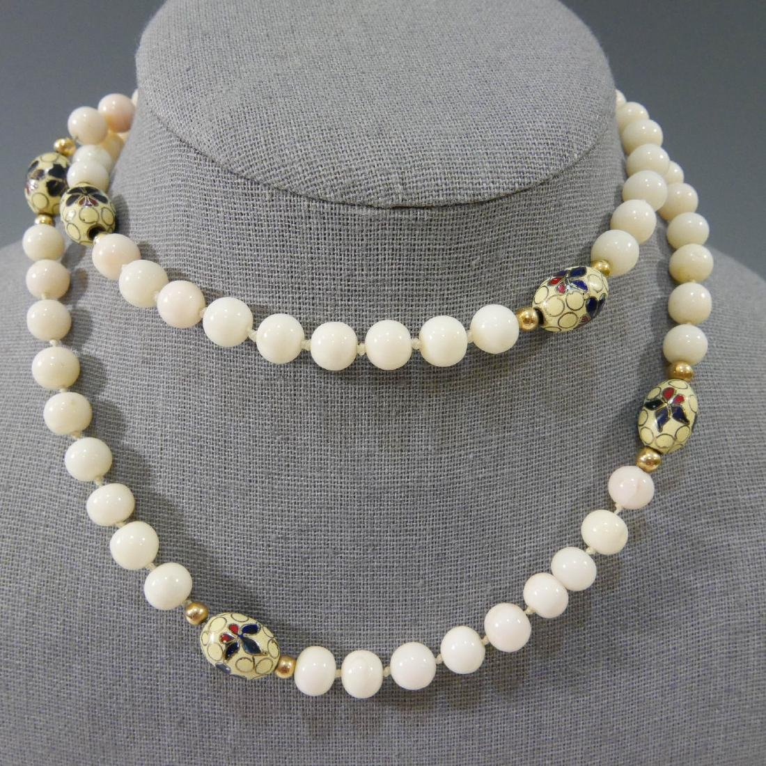 ANGEL SKIN CORAL AND ENAMEL BEADS NECKLACE