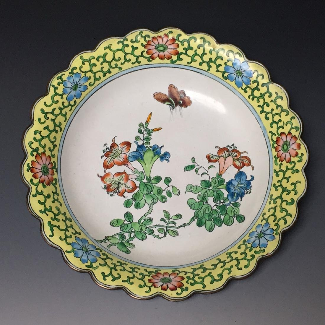 CHINESE ANTIQUE PAINTED ENAMEL PLATE,19C