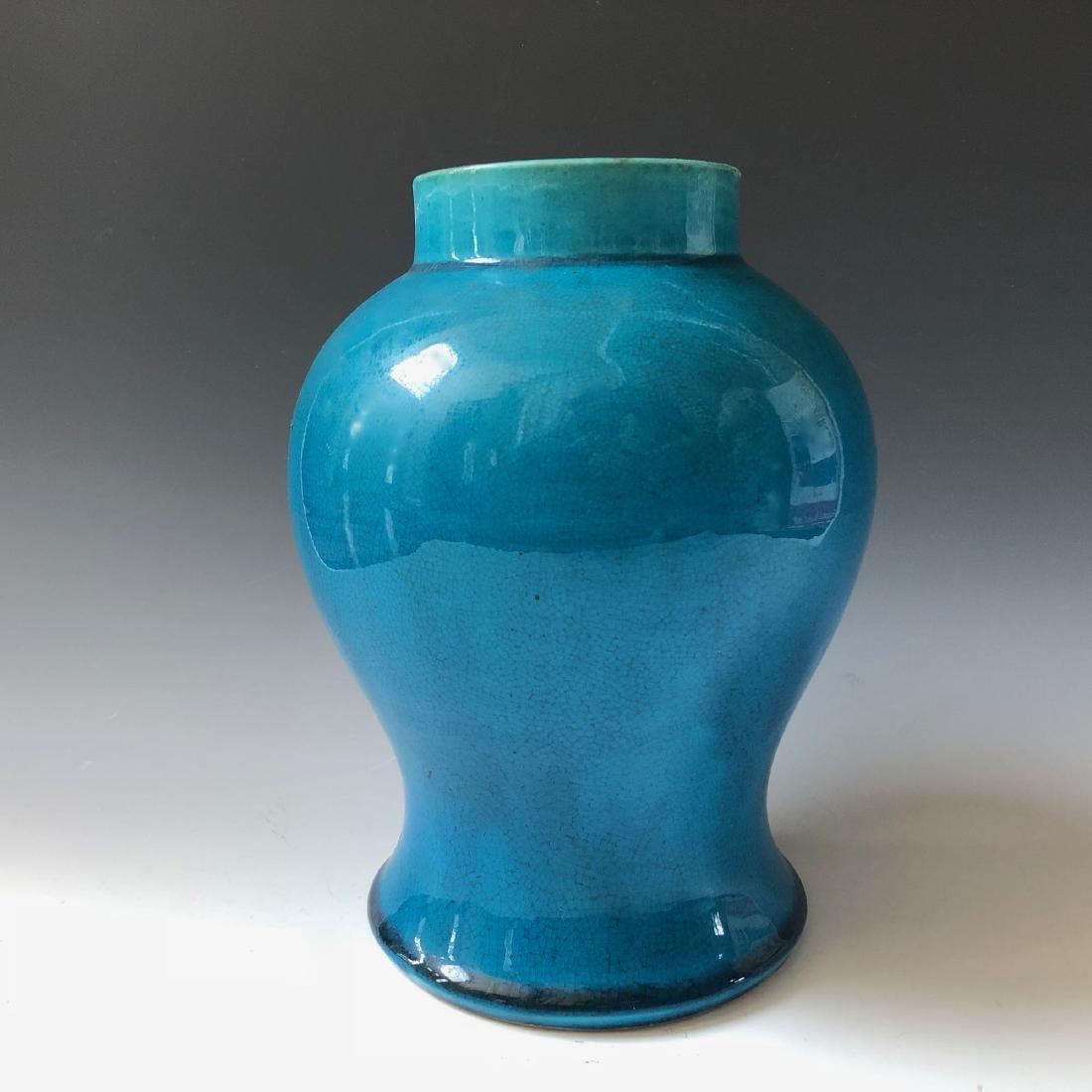 A CHINESE ANTIQUE BLUE GLAZED VASE, 19C - 2