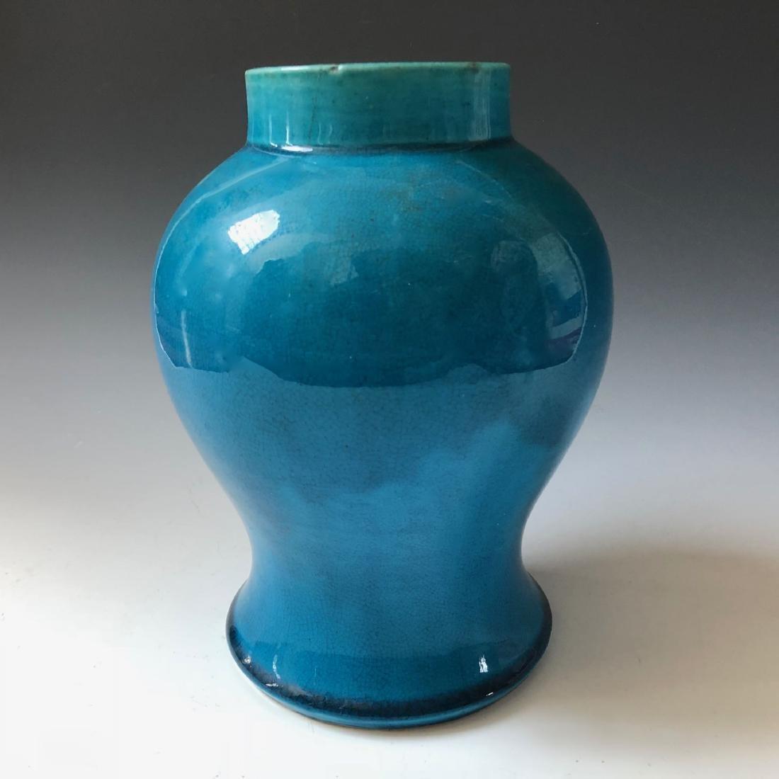 A CHINESE ANTIQUE BLUE GLAZED VASE, 19C - 4