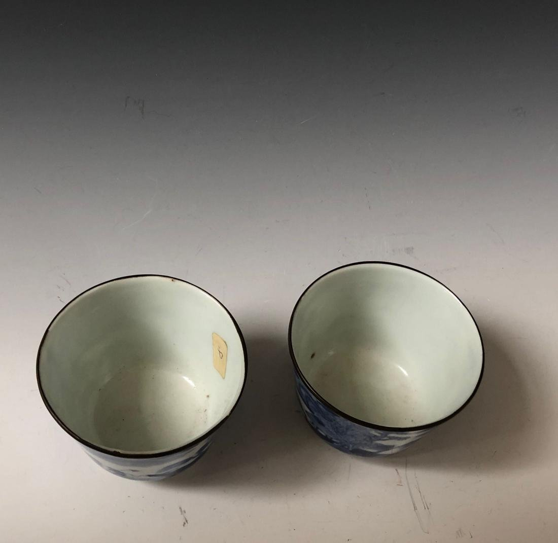 A PAIR OF CHINESE ANTIQUE BLUE AND WHITE CUPS , MARKED. - 4