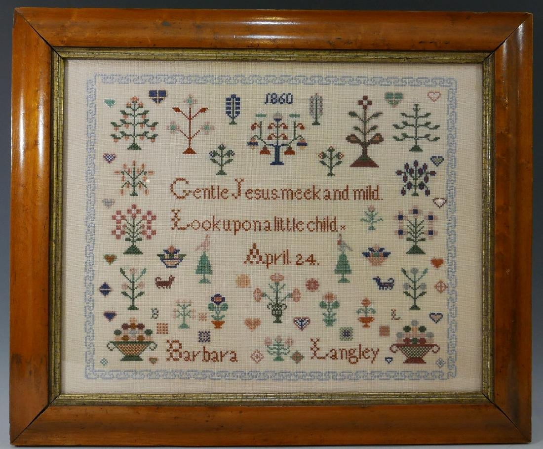 ANTIQUE SAMPLER - 1860 BY BARBARA LANGLEY