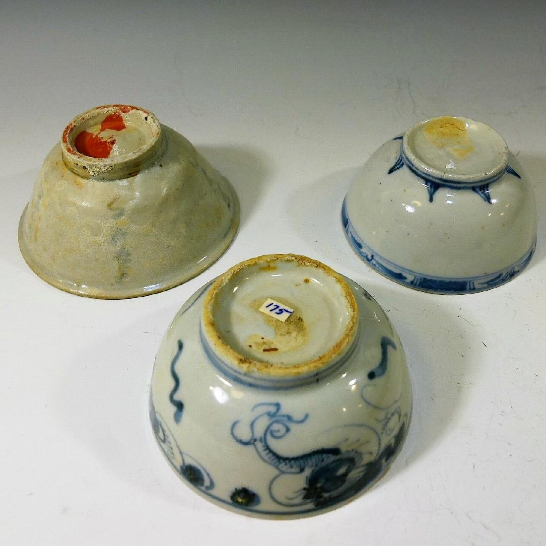 3 CHINESE ANTIQUE BLUE WHITE PORCELAIN BOWL - MING