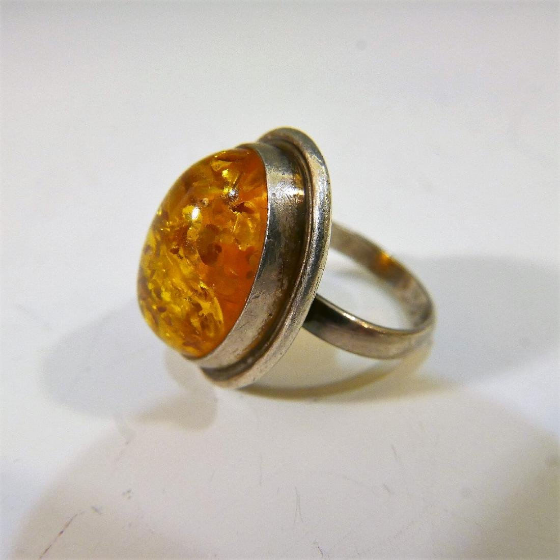 STERLING SILVER AMBER RING - 2