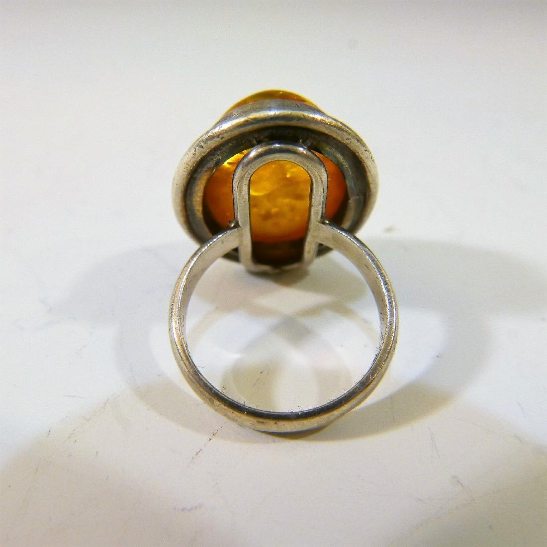 STERLING SILVER AMBER RING - 4