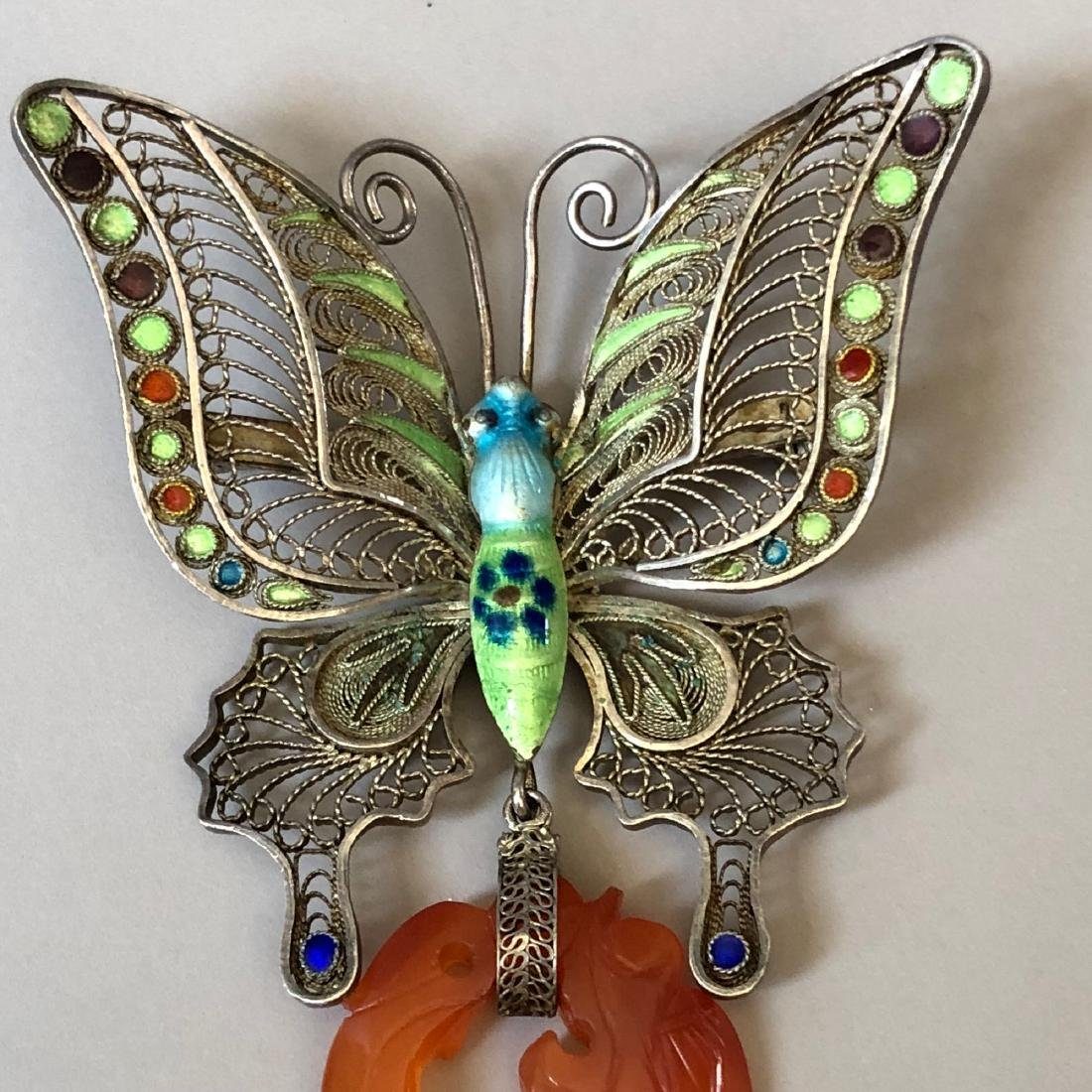 A FINE SILVER BUTTERFLY AND AGATE PIN - 2