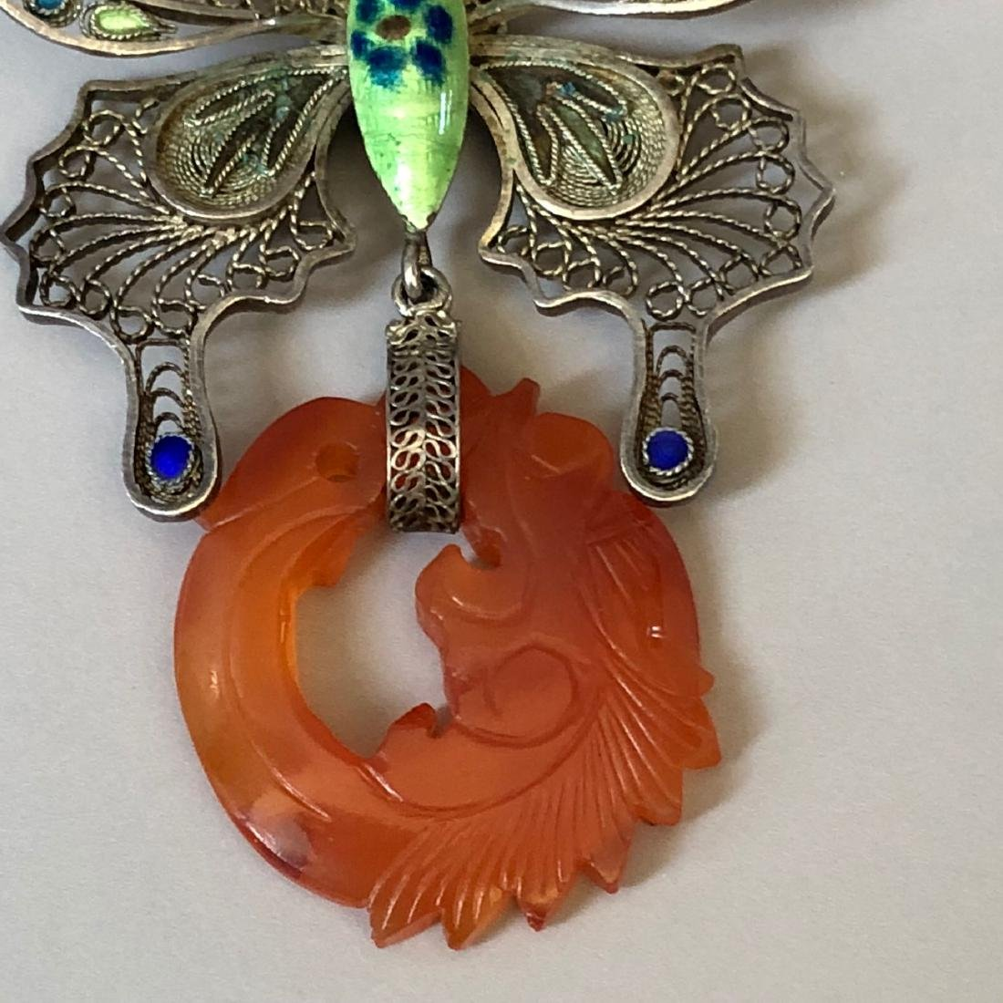 A FINE SILVER BUTTERFLY AND AGATE PIN - 3