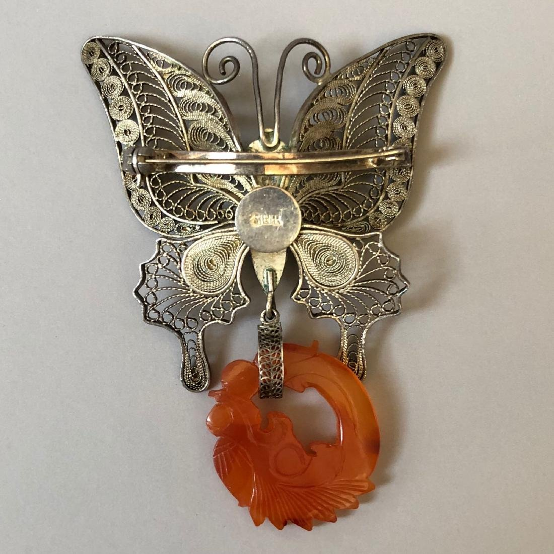A FINE SILVER BUTTERFLY AND AGATE PIN - 4
