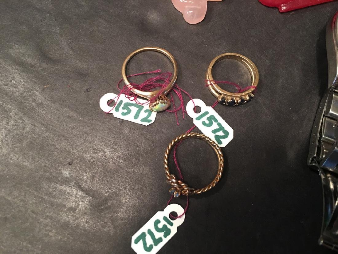 Three Lady's 14K Gold Sappire & gems Rings and - 3