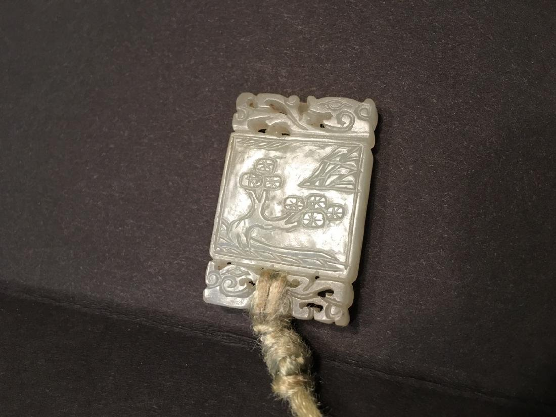OLD Chinese White jade pendant with carvings, Qing