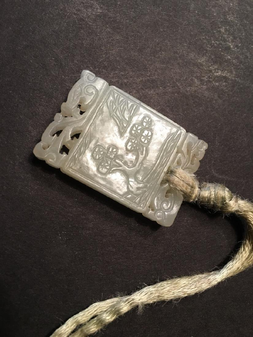 OLD Chinese White jade pendant with carvings, Qing - 6