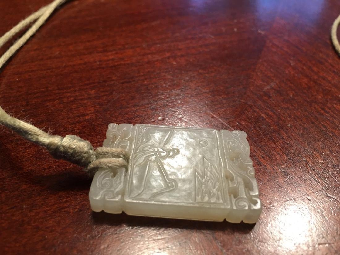 OLD Chinese White jade pendant with carvings, Qing - 8