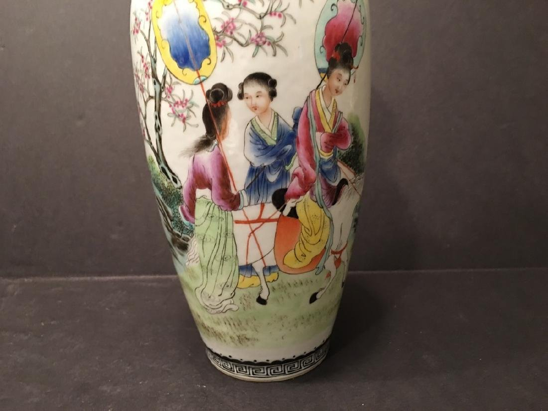"""ANTIQUE Chinese Famille Rose Vase, late Qing.  9"""" high. - 4"""