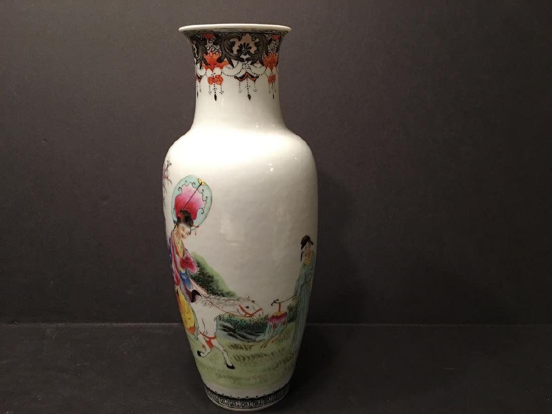 "ANTIQUE Chinese Famille Rose Vase, late Qing.  9"" high. - 5"