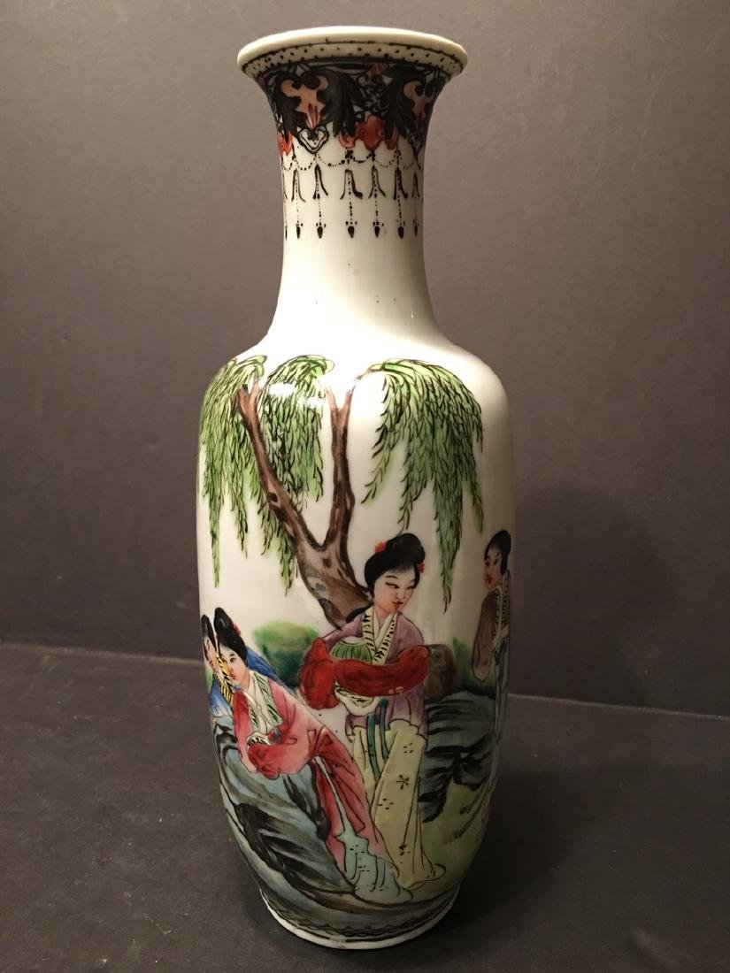 """ANTIQUE Chinese Famille Rose Vase, late Qing.  9"""" high."""