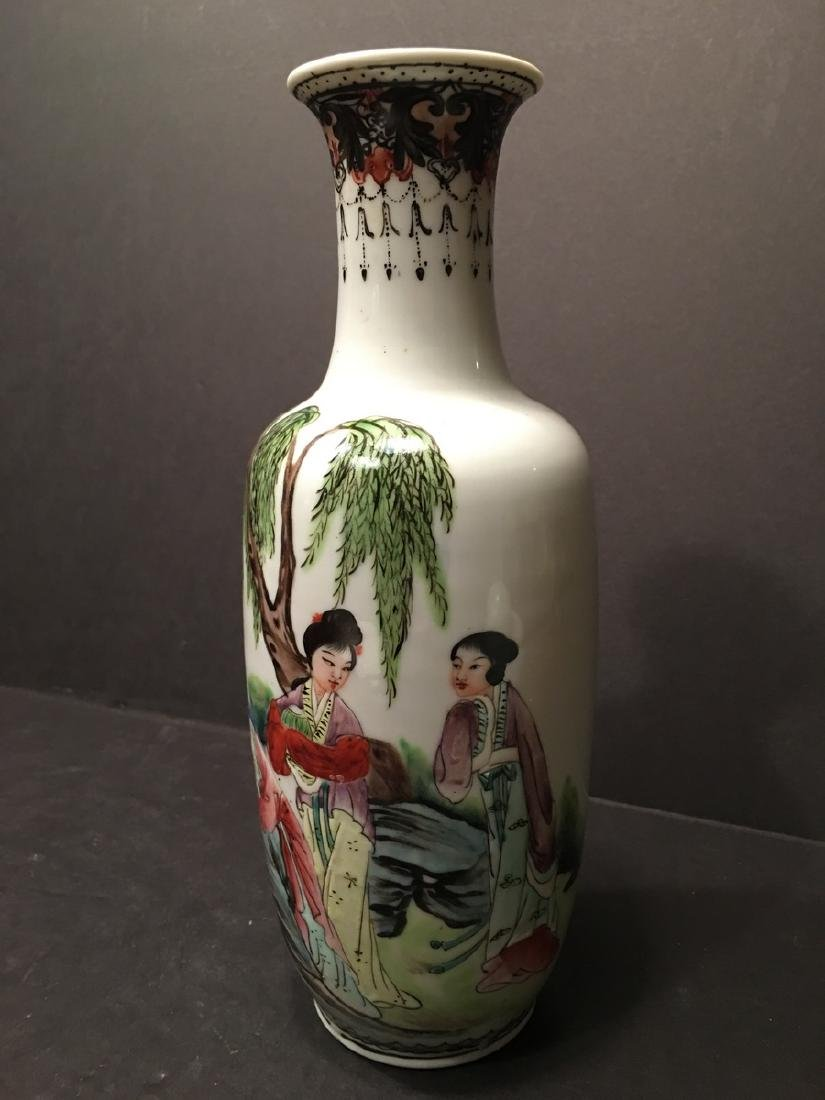 "ANTIQUE Chinese Famille Rose Vase, late Qing.  9"" high. - 3"