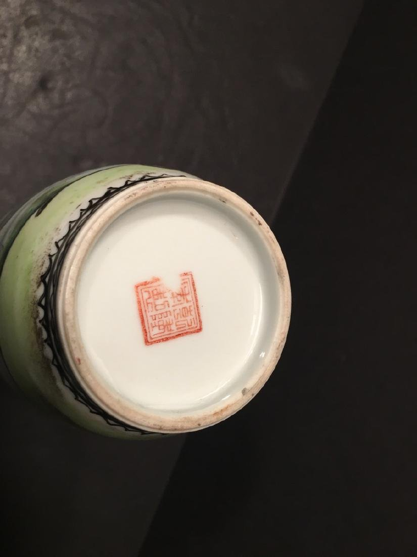 """ANTIQUE Chinese Famille Rose Vase, late Qing.  9"""" high. - 6"""