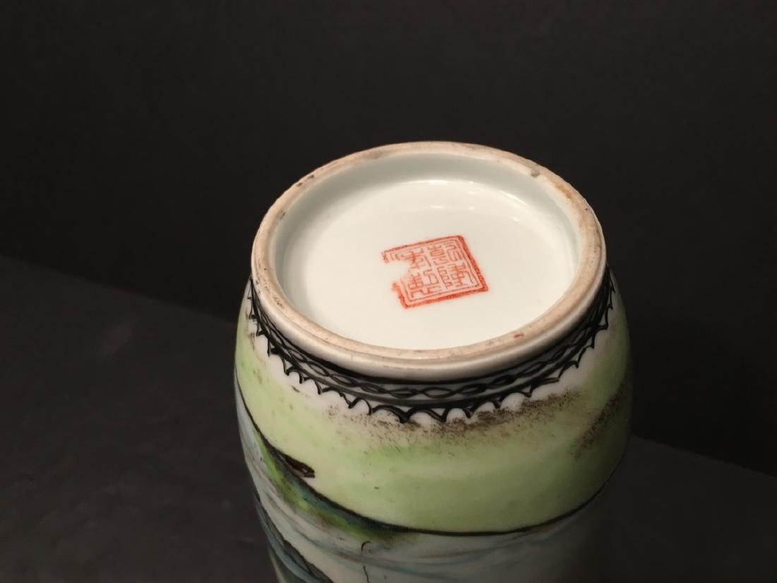"""ANTIQUE Chinese Famille Rose Vase, late Qing.  9"""" high. - 7"""