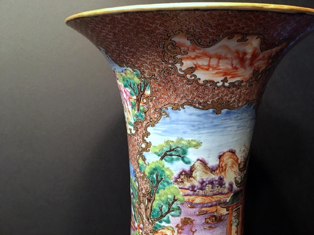 ANTIQUE Chinese Large Famille Rose Canton Gu Vase, 18th - 2