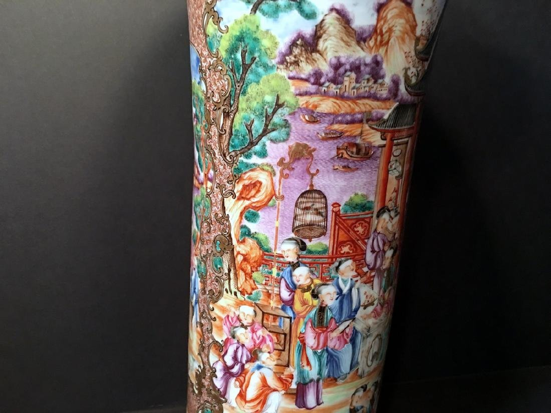 ANTIQUE Chinese Large Famille Rose Canton Gu Vase, 18th - 3
