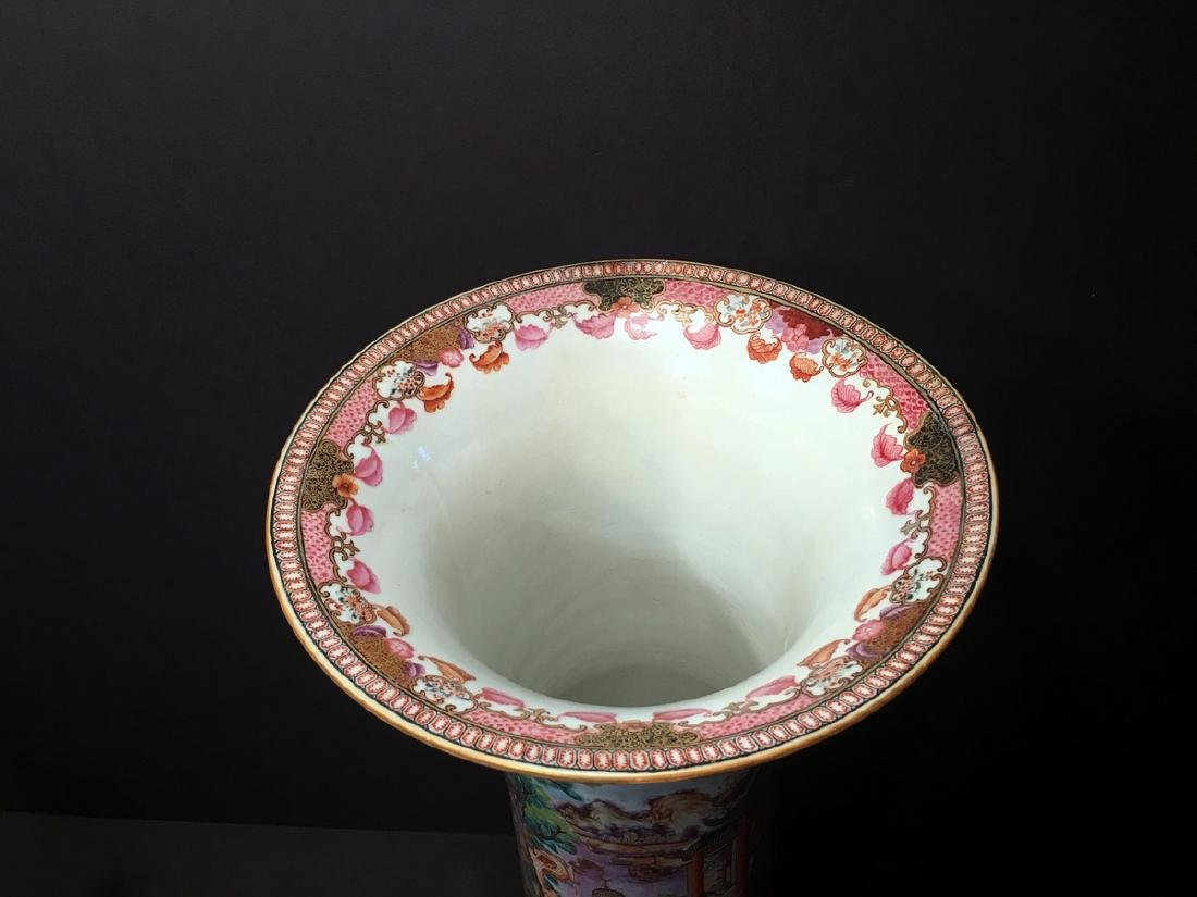 ANTIQUE Chinese Large Famille Rose Canton Gu Vase, 18th - 5