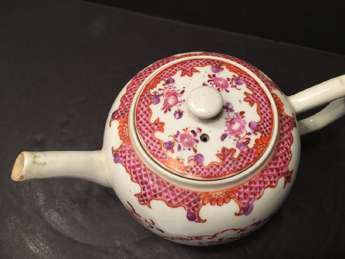ANTIQUE Chinese Large Famille Rose Teapot, 18th - 3