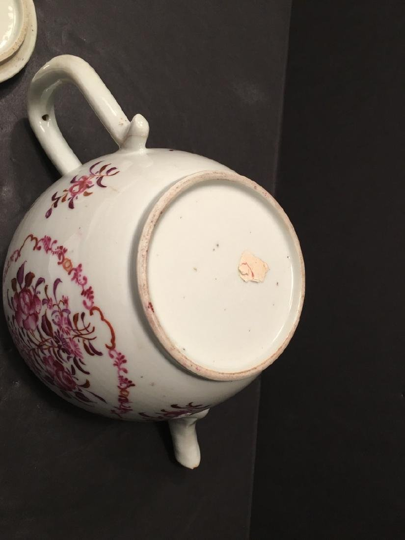 ANTIQUE Chinese Large Famille Rose Teapot, 18th - 5