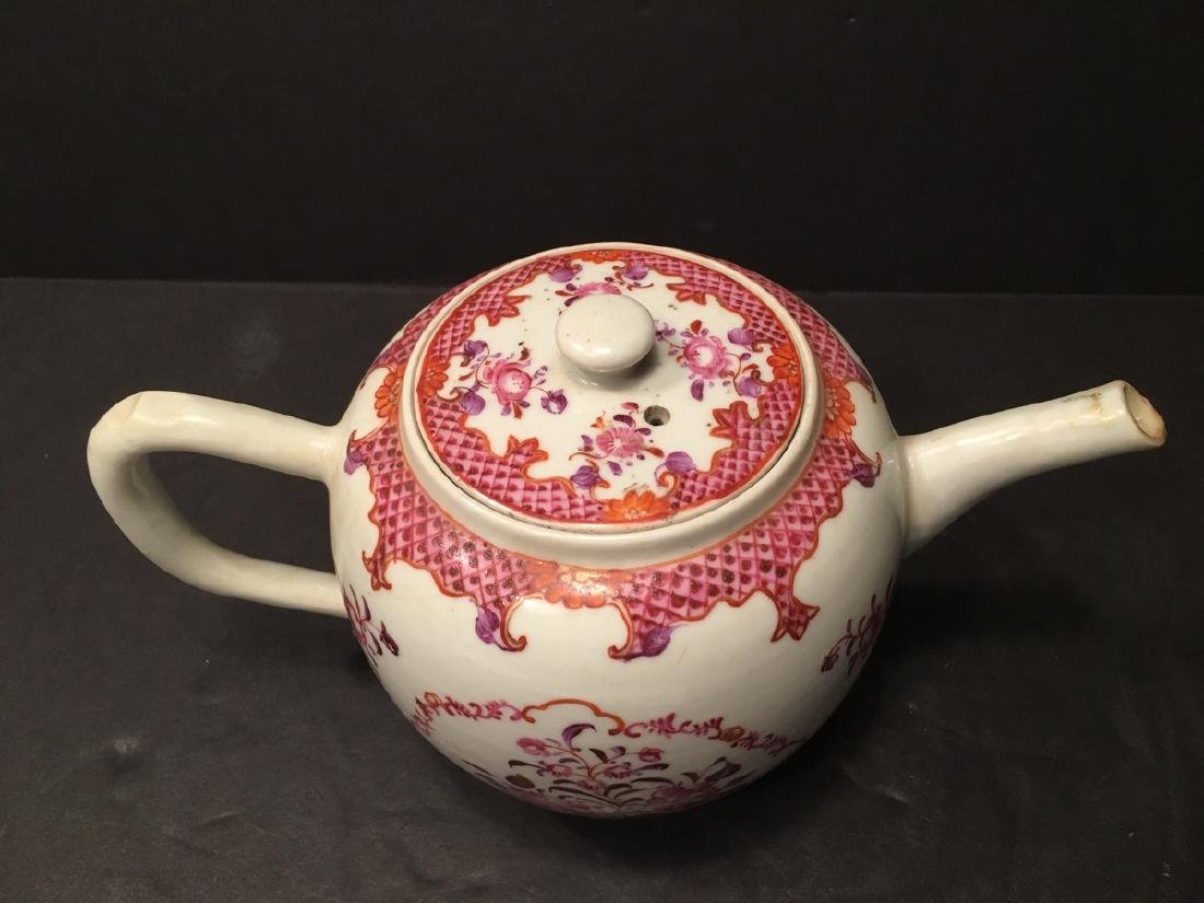 ANTIQUE Chinese Large Famille Rose Teapot, 18th - 6