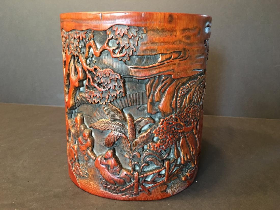ANTIQUE Chinese Bamboo Carved Brush pot or Bitong, 6 - 2