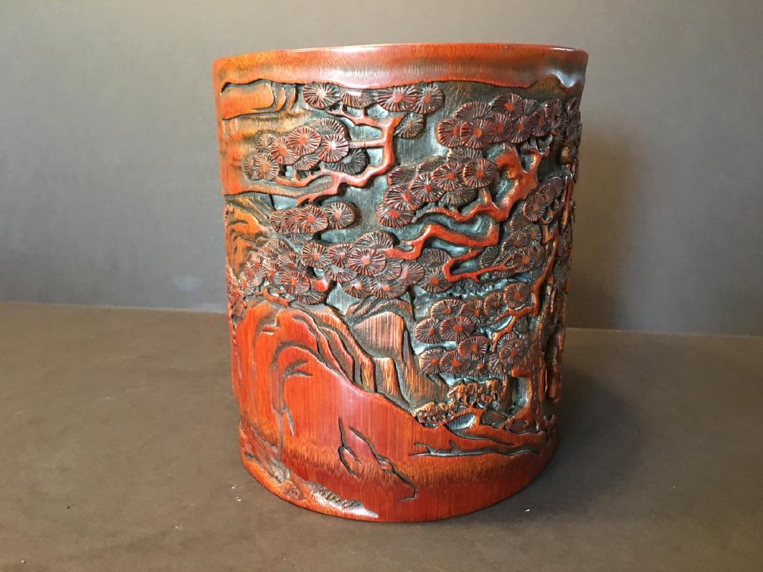 ANTIQUE Chinese Bamboo Carved Brush pot or Bitong, 6 - 4