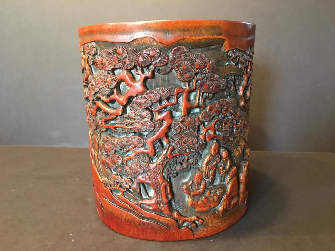 ANTIQUE Chinese Bamboo Carved Brush pot or Bitong, 6 - 5