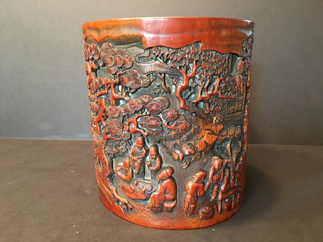ANTIQUE Chinese Bamboo Carved Brush pot or Bitong, 6 - 6