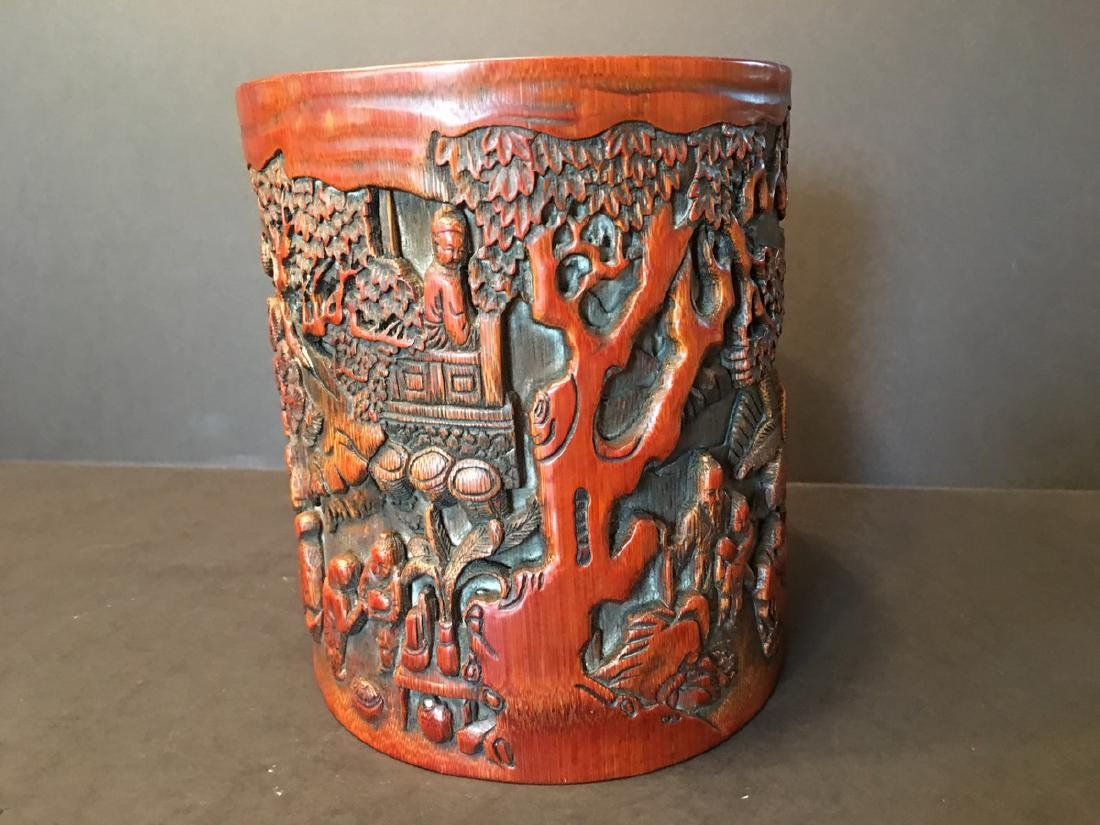ANTIQUE Chinese Bamboo Carved Brush pot or Bitong, 6 - 7