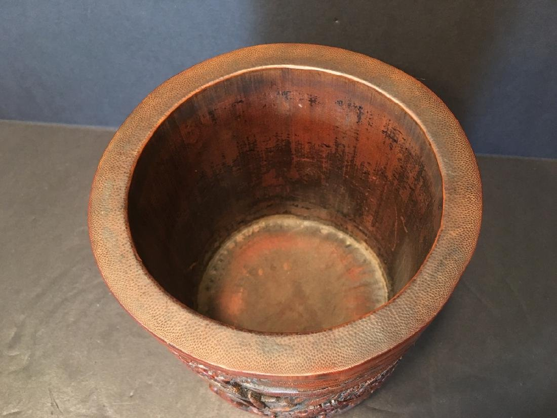 ANTIQUE Chinese Bamboo Carved Brush pot or Bitong, 6 - 9
